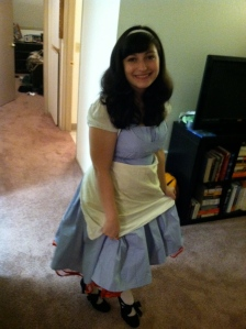 My Alice costume using the blue full skirted dress below.